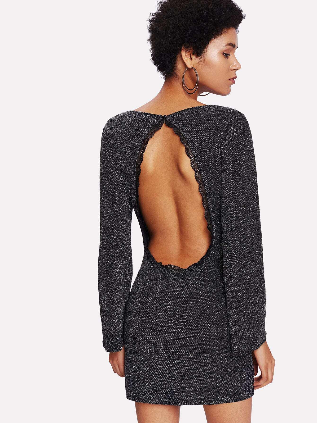 Lace Trim Open Back Dress lace yoke frill trim open back dress