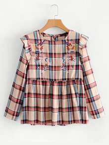 Embroidery Detail Plaid Babydoll Blouse