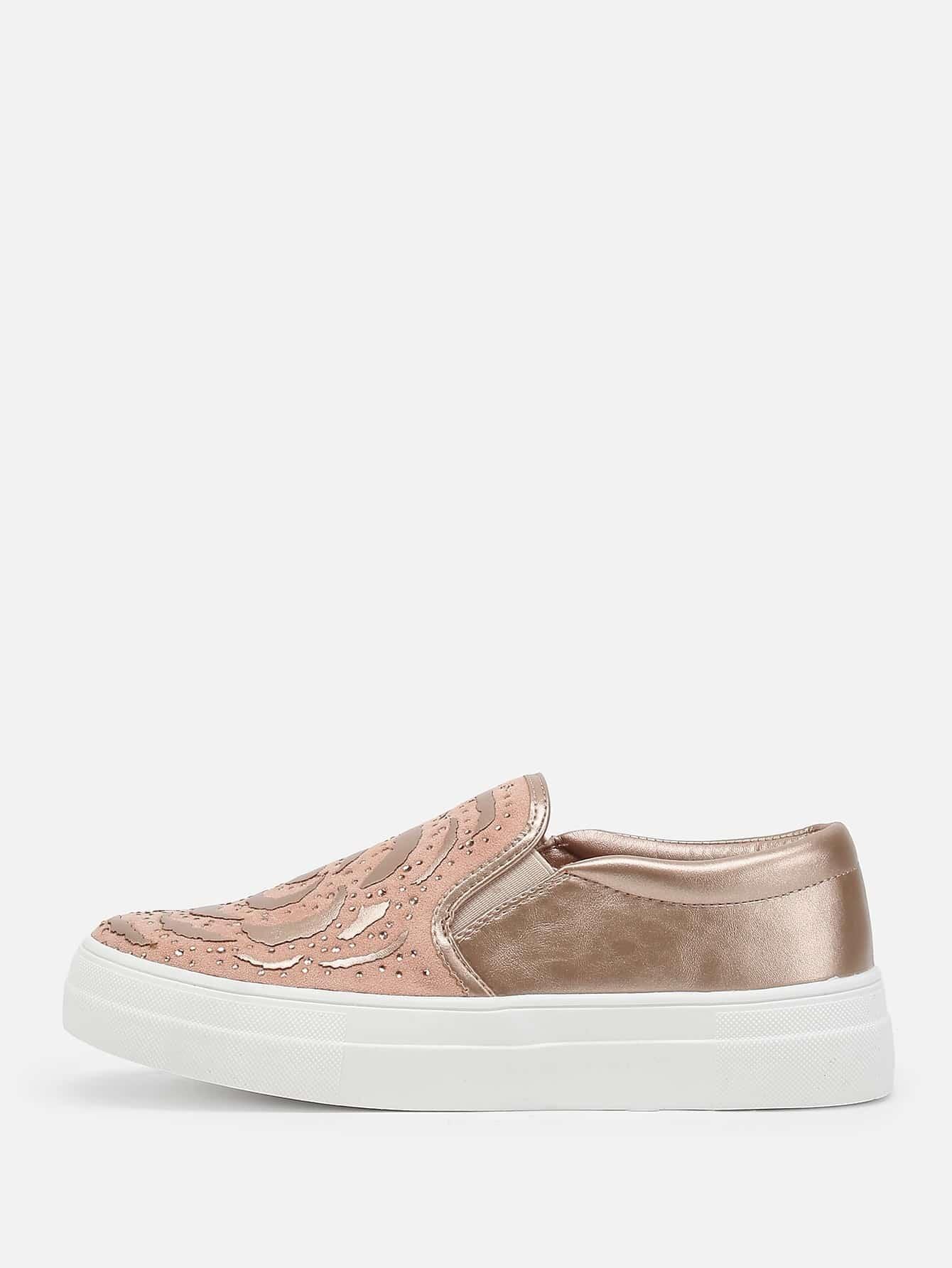 Rhinestone Detail Flatform PU Sneakers