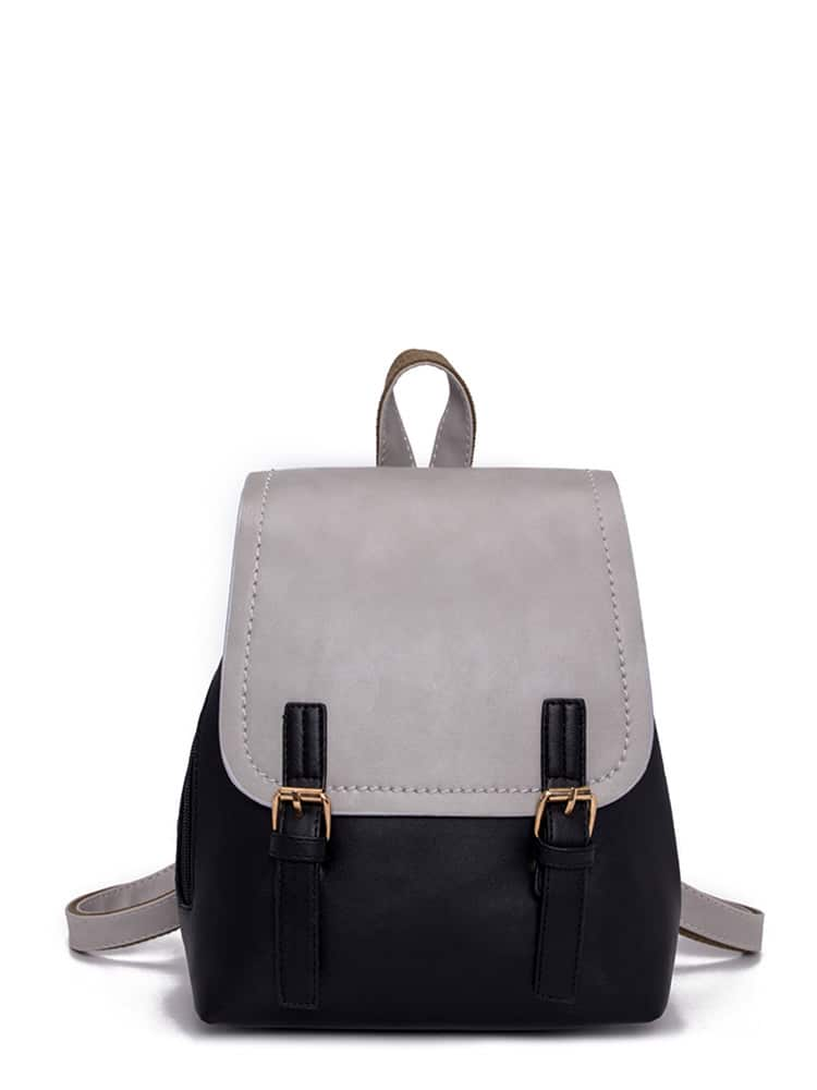 Double Buckle Two Tone Backpack double buckle glitter backpack