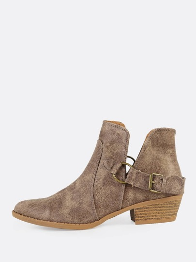 Distressed Side Slit Buckled Ankle Boots DK. TAUPE