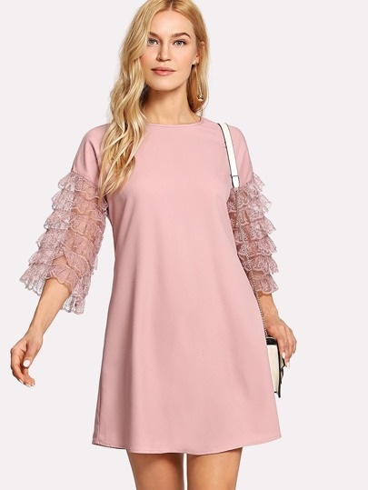 Ruffle Lace Sleeve Tunic Dress
