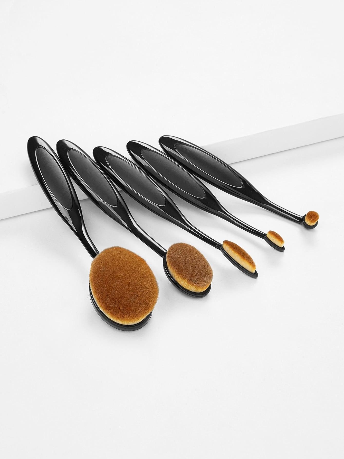 Black 5PCS Oval Makeup Brush Set 5pcs set 8