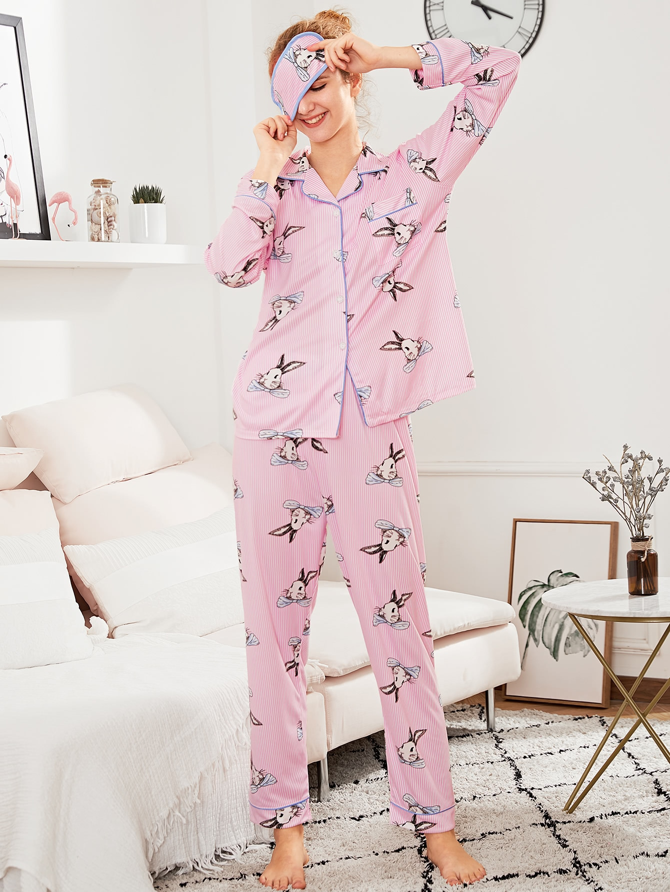 Contrast Binding Rabbit Print PJ Set With Eye Mask rabbit print pullover