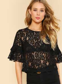 Ruffle Sleeve Sheer Lace Top