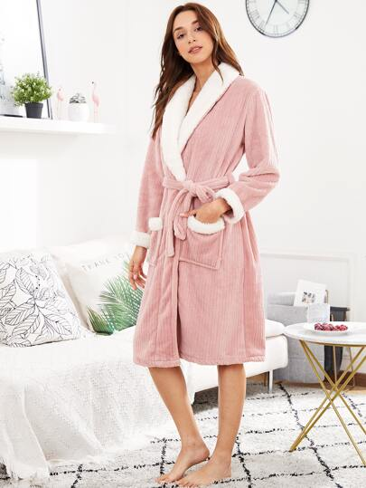 Contrast Trim Self Tie Robe