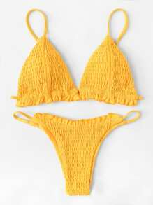 Frill Ruched Bikini Set