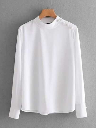 Beaded Shoulder Band Collar Blouse