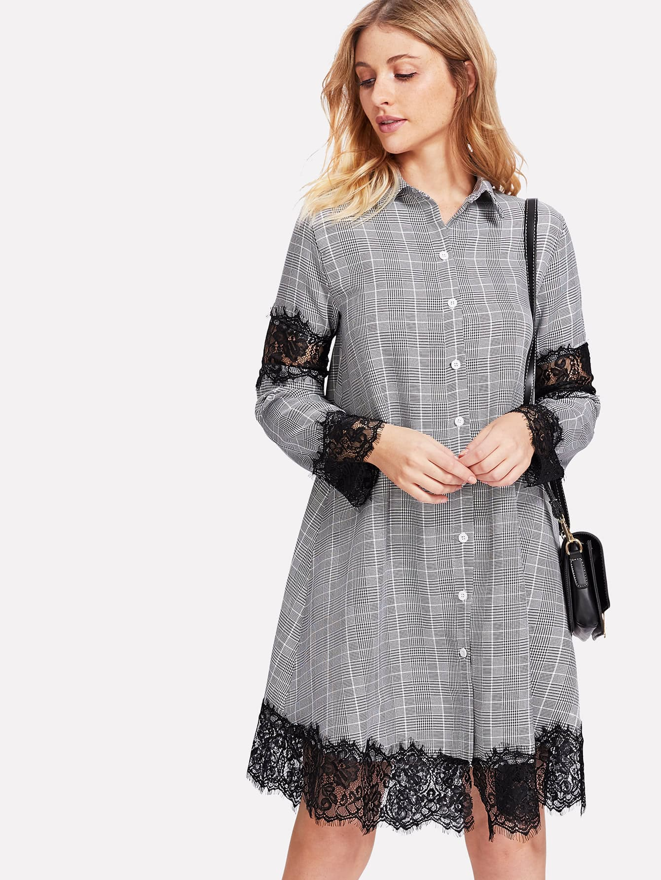 Contrast Eyelash Lace Glen Plaid Shirt Dress contrast eyelash lace t shirt