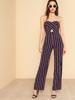 Strapless Sweetheart Keyhold Striped Jumpsuit NAVY MULTI