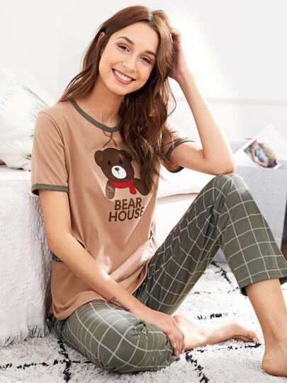 Bear Embroidered Tee & Grid Print Pants PJ Set