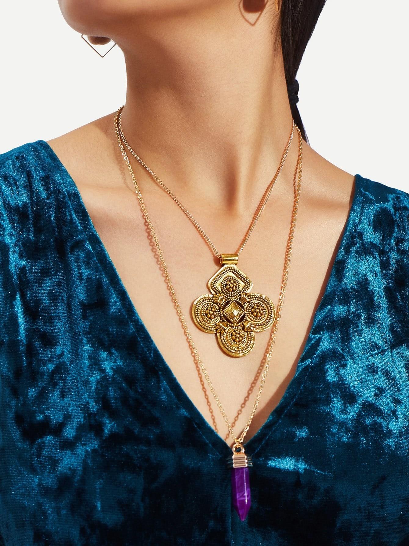 Hexagon Column Pendant Layered Necklace