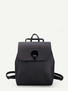 Flip Lock Detail PU Backpack