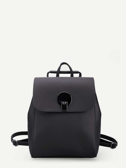 Flip Lock Detail PU Backpack