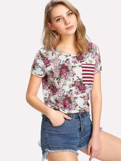 Striped Single Pocket Floral T-shirt