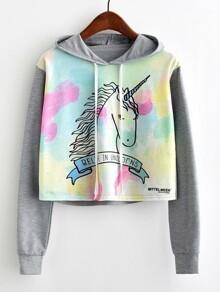 Unicorn Print Contrast Sleeve Hoodie
