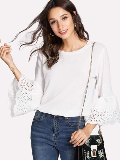 Laser Cut Out Detail Flounce Sleeve Tshirt