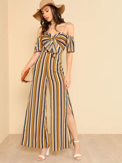 Knot Sweetheart Neck Slit Hem Wide Leg Jumpsuit
