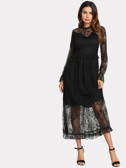 Lace Overlay Ruffle 2 In 1 Dress