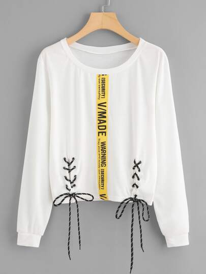 Letter Tape Detail Lace Up Tshirt