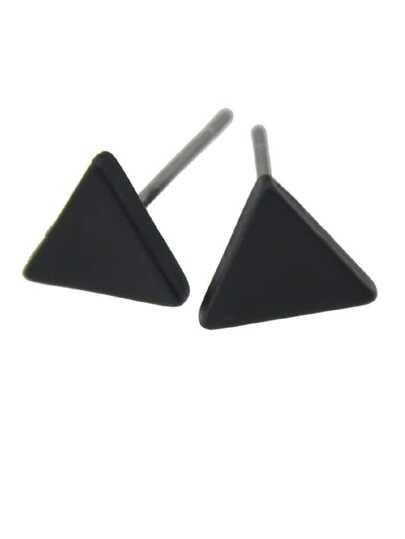 Black Small Triangle Stud Earrings