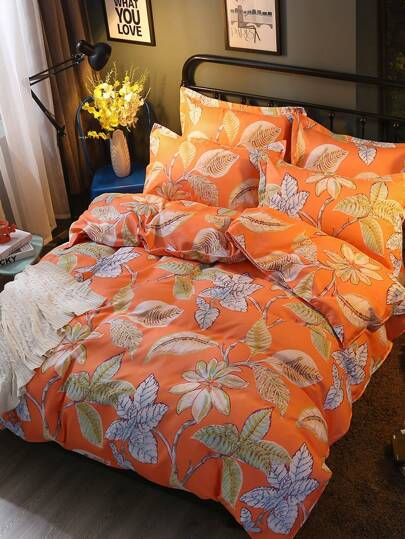 1.5m 4Pcs All Over Leaves Print Bedding Set