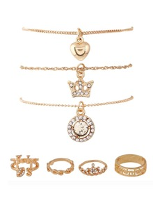 Crown & Heart Design Ring & Bracelet Set
