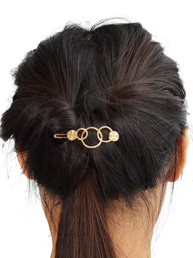 Gold Simple Geometric Hair Clip Frog Clip women s hair clip simple scissor shape charming hair accessory