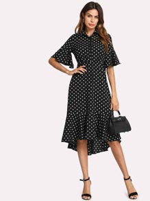Half Placket Polka Dot Ruffle Dress