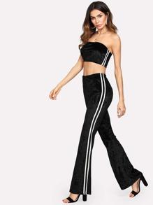 Striped Velvet Bandeau & Pants Set