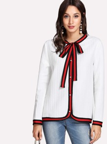 Striped Trim Tie Neck Pearl Button Jersey Cardigan