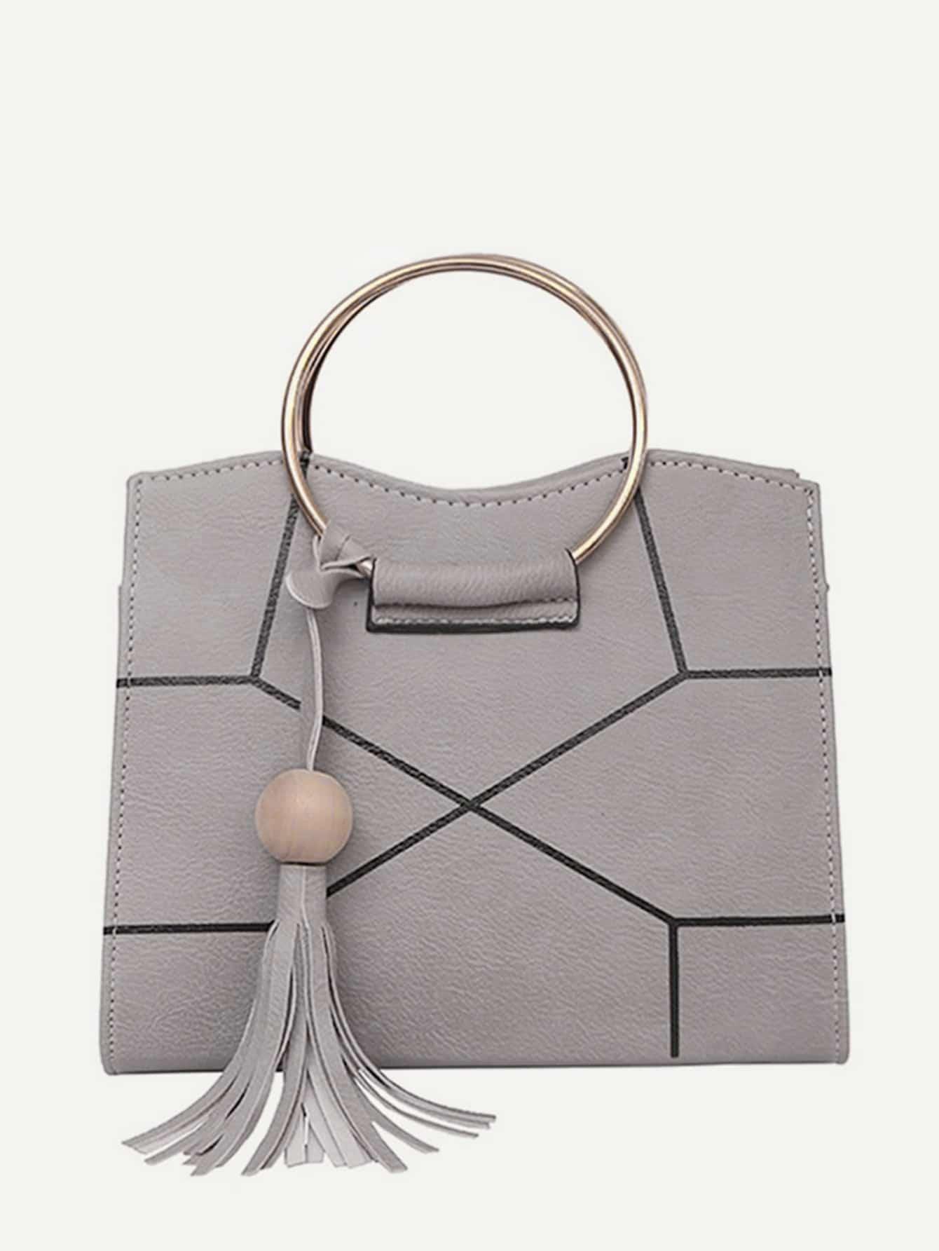 Ring Handle Geometric Design Crossbody Bag With