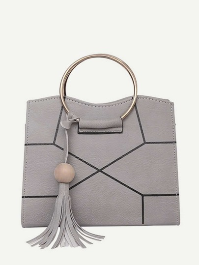 Ring Handle Geometric Design Crossbody Bag With Tassel
