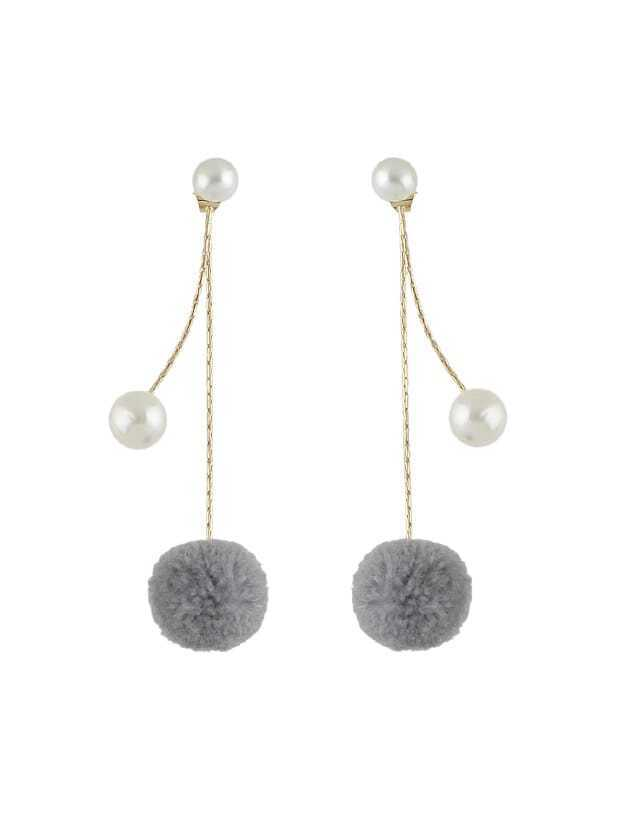 Pom Pom Ball Drop Earrings pom pom ball applique rabbit print pullover