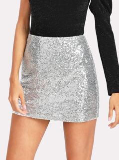 Metallic Sequin Skirt