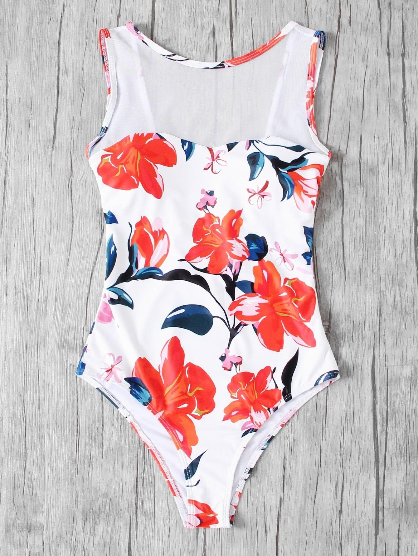 Купить Модный купальник с сетчатой вставкой и цветочным принтом, null, SheIn