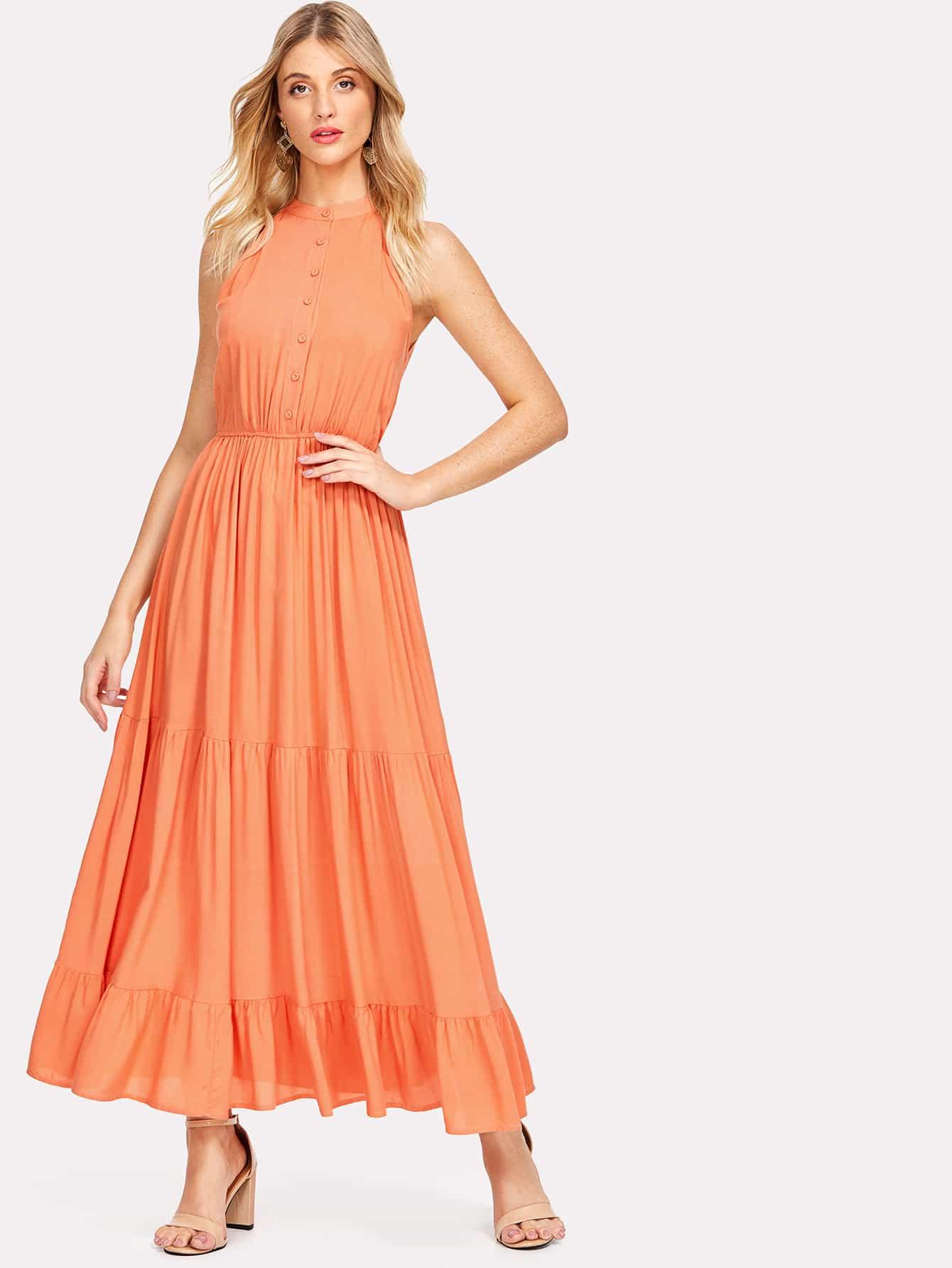 Купить Модное платье с оборкой и V-образным вырезом, Nathane, SheIn