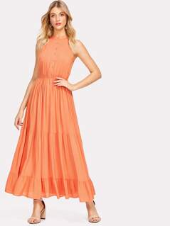Knot V Back Tiered Ruffle Hem Dress