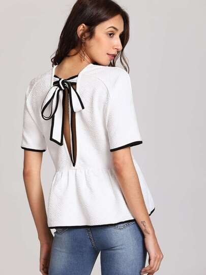 Contrast Trim Tied Open Back Smock Tee