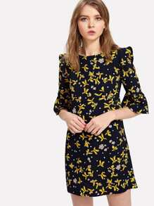 Flounce Sleeve Calico Print Dress