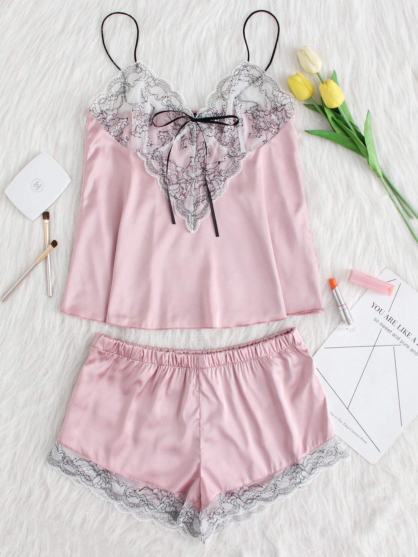 Lace Applique Bow Knot Front Cami And Short PJ Set customize white laser cut lace ribbons bow wedding invitation kit blank printing invitations card set green inside paper