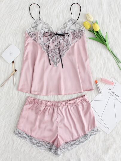 Lace Applique Bow Knot Front Cami And Short PJ Set