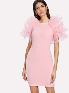 Tiered Mesh Embellished Sleeve Form Fitting Dress