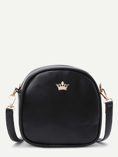 Crown Decorated PU Shoulder Bag