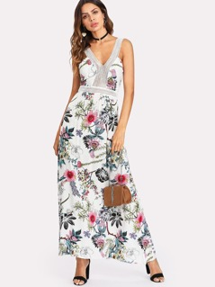 Lace Insert Tied Back Floral Dress