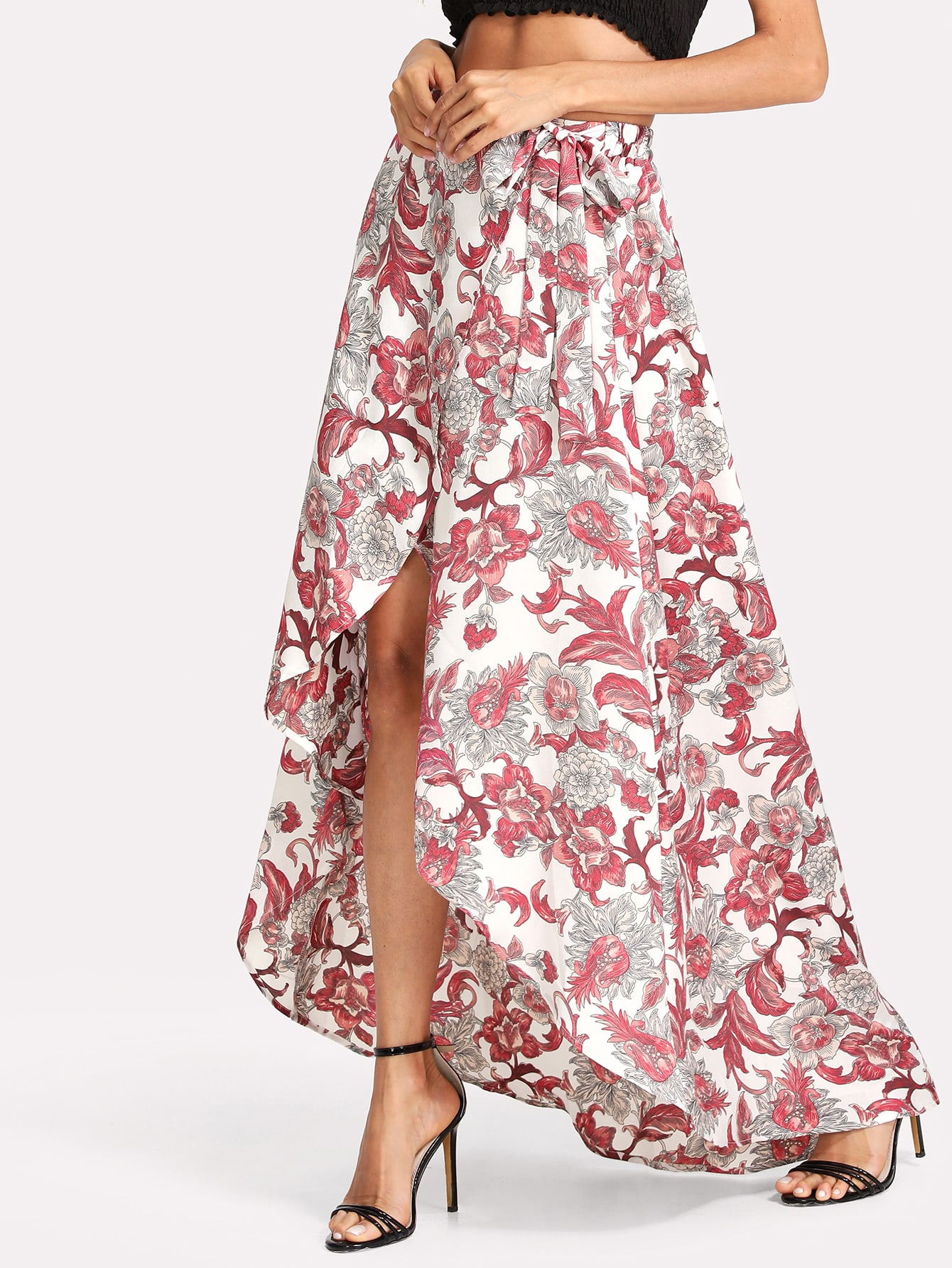 Floral Print Wrap Split Front Skirt tribal print split front skirt