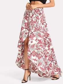Floral Print Wrap Split Front Skirt