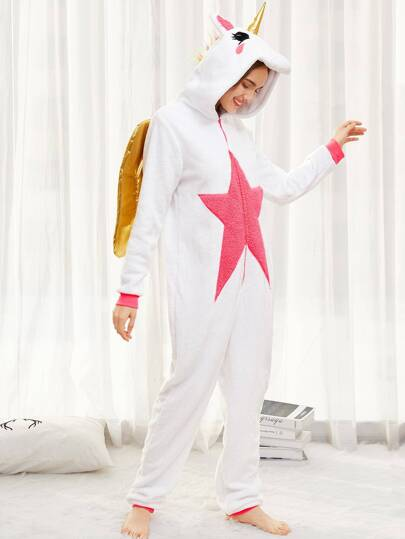 Unicorn Onesie With Contrast Metallic Wings