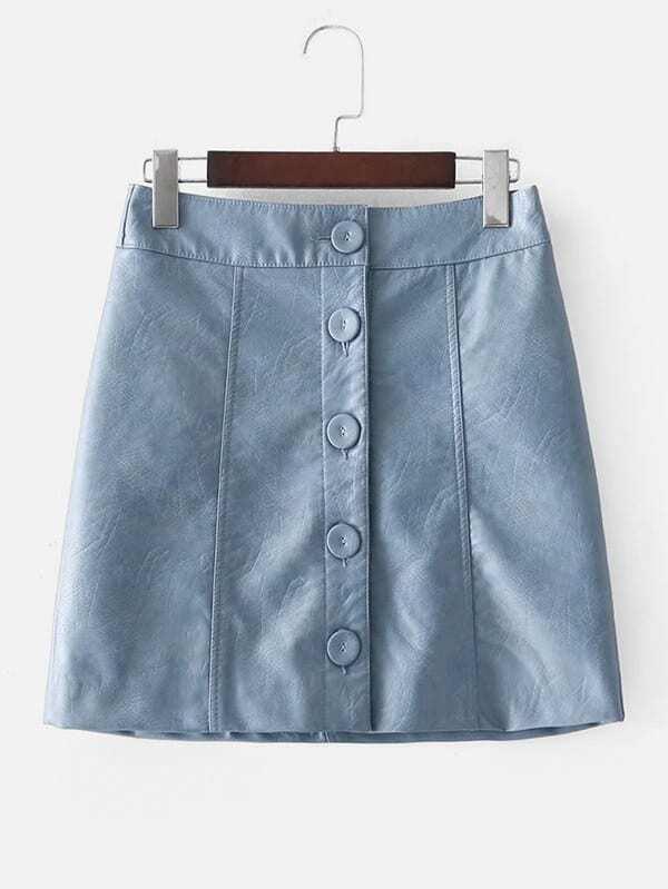 Button Up PU Skirt