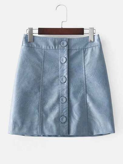 Button Up PU Skirt